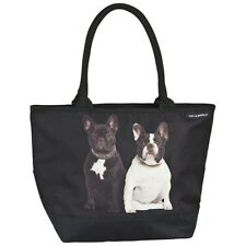 Tasche Geschenk Shopper Bag bunt Hund schwarz Französische Bulldoggen 4167