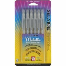 Sakura 57384 Gelly Roll Metallic Silver Bold 6 Pens Archival Ink NEW!