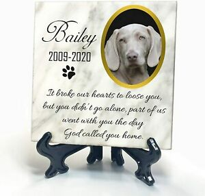 Pet Memorial White Marble Plaque Cat Dog Paw Photo Grave Marker Personalised