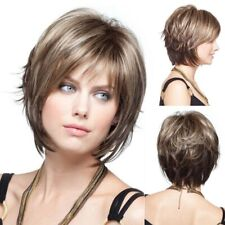 Fashion Women Ombre blond Brown Wig Short Curly Hair bob Full Wigs Party Natural
