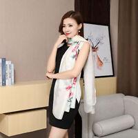 Women Wear Summer Fashion Wrap Floral Printed Imitation Silk Scarf Shawl shan