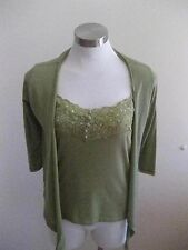 Ladies Green Crossroads Camisole Top Size 10 and Matching Jacket Size 8