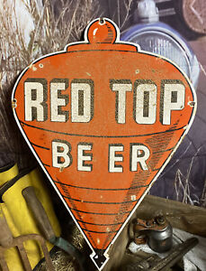 """24"""" x 17"""" RED TOP BEER PORCELAIN METAL FALLS CITY PIELS IROQUOIS SIGN"""