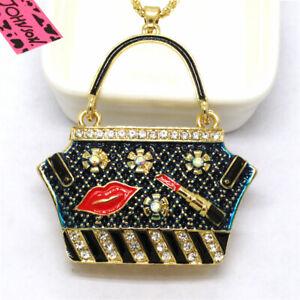 Hot Betsey Johnson Blue Enamel  Handbag Lipstick Crystal Pendant China Necklace