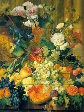 hollyhocks Tile Mural Kitchen Bathroom Wall Backsplash Art 12.75x17