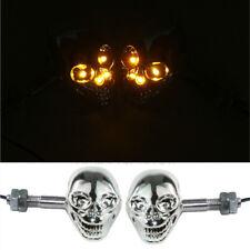 Chrome Skull LED Turn Signal For Kawasaki VN Classic MeanStreak Nomad 1600