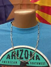 """Native American Handmade Navajo Chain Necklace - 24"""" - Sterling Silver - 34.5 g"""