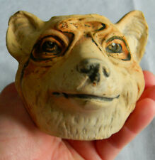 Antique/vintage wolf head ceramic or clay container wearing monocle?