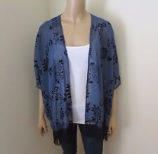 NEW Hollister Womens Floral Fringe Kimono Navy Blue One Size