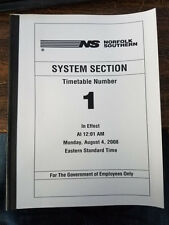 Norfolk Southern System Section Timetable 1 04AUG2008 NEW OLD STOCK RR ISSUE