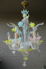 Murano hand blown glass Mid century Multi colour chandelier Italian 1970