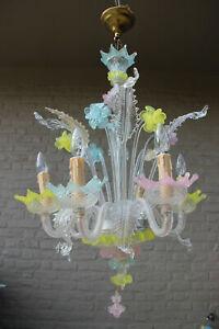 Murano hand blown glass Mid century Multi colour chandelier Italian 1970