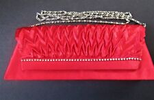 Red Clutch Purse Evening Bag With Silver Chain Strap Wedding Bridal Party NEW