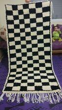 Vintage Moroccan Large Beni Ourain Rugs Carpet Berber- checkerboard- Creamy