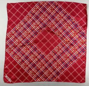 Vintage SILK scarf ADOLFO classic designer plaid check  mod 70's RED  WHITE