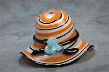 "Glass Handcrafted Hat Bowl Unique Orange/Black/White 4.5"" x 7.5"" x 4"""