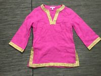 Lilly Pulitzer Women's XS Linen Blouse 3/4 Sleeve Pink/ Gold
