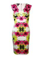 INC International Concepts Women's V-Neck Floral Scuba Dress PM, Island Dream