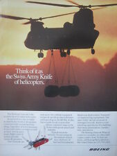 5/1992 PUB BOEING CHINOOK HELICOPTER SWISS ARMY KNIFE COUTEAU SUISSE ORIGINAL AD