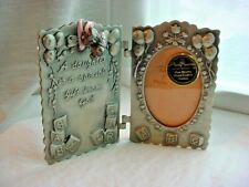 Baby Girl Frame w Bootie Charms Pewtertone Metal 4 inch Daughter Artmark
