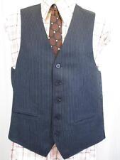 38R S/M - Vintage 70's Mens Blue Striped Waistcoat Suit Vest Mod Retro - B865