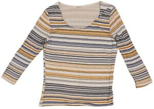 woolovers womens long sleeve open crew neck viscose top stripe white size m