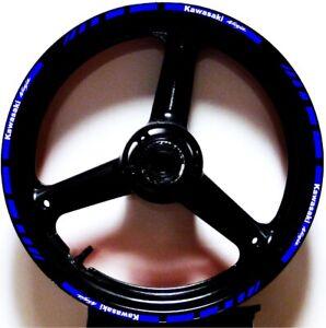 BLUE WHITE GP STYLE CUSTOM RIM STRIPES WHEEL DECALS TAPE STICKERS Kawasaki Ninja