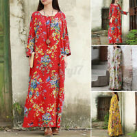 ZANZEA Womens Long Sleeve Vintage Floral Printed Casual Loose Kaftan Maxi Dress