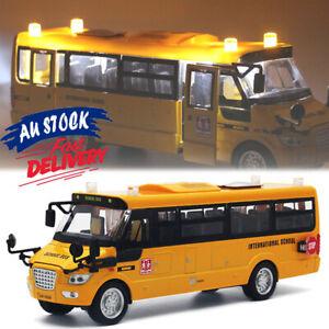 Pull Back Xmas Gift Sound Light Car Toys Kids Open Doors Metal School Bus Model