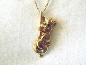 Mouse & Clock Pendulum Necklace Gold Tone Pendant Green Rhinestone Eyes Mom Gift