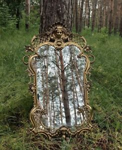 20TH CENTURY ANTIQUE BRASS MIRROR ORNATE GOLD PLATED FRAME ART ROCOCO STYLE 7 KG