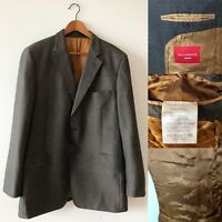 "PAUL COSTELLOE Men Brown 100% Wool Jacket Blazer Chest 44"" Big Tall Long Smart"