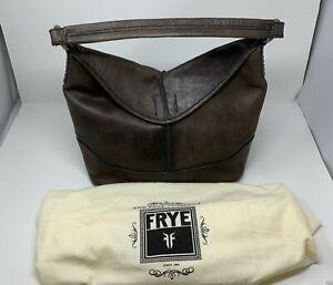 Frye Cara Leather Smoke Hobo Gray Shoulder Strap Bag Retail $398