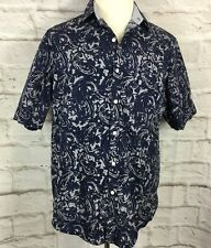 Tasso Elba Men's L Blue Batik  Short Sleeve Button Front Shirt