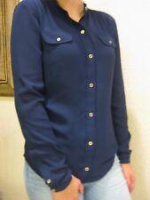 NWT NAUTICA WOMEN'S BUTTON DOWN LONG SLEEVE DRESS SHIRT size M NAVY BLUE $59.50
