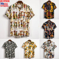Men's Fashion Hawaiian Shirt Summer Floral Beach Short Sleeve Casual Shirt Tops