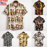 Men's Fashion Hawaiian Shirt Summer Floral Beach Short Sleeve Casual Shirt Tops