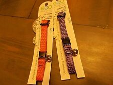 lot of 2 eco cat collars with bells safety buckle Lupine coral and lilac new Nip