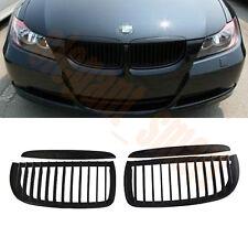 Matte Black Kidney Nose Front Grilles For BMW E90 E91 M3 3Series 4Door 2005-2008