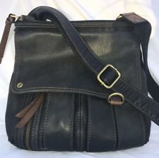 FOSSIL MORGAN TRAVELER Black Leather CROSSBODY MESSENGER Bag/Purse EUC!