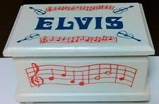 Elvis Presley Wood Music Box With Magnetic Dancing Elvis Figurine~Love Me Tender