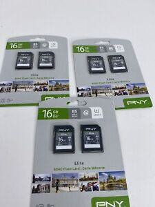 Lot 3 PNY 16GB SDHC Flash Card 2-pk Elite 85 MB/s Class 10 UHS-1, 6x Cards