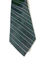 """George NWOT Men's Black/Green Necktie Striped 100% Silk Tie W 3.5"""" L 60"""""""