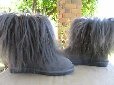 Bearpaw Boots Boetis Suede Curly Lamb Fur Charcoal Size 7 New
