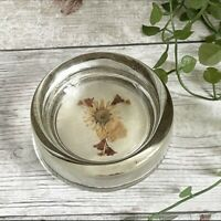 Vintage Glass Trinket Dish With Dried Flowers