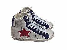 scarpe sneakers alte uomo donna pelle bianco blu stella rossa sfumato vintage