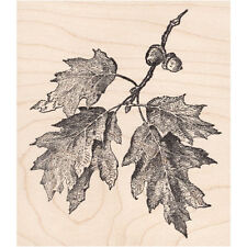 Oak Tree Branch Beeswax Rubber Stamp Mounted Scenic Landscape