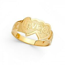 Two Hearts I Love You Ring Solid 14k Yellow Gold Love Band Polished Satin Finish