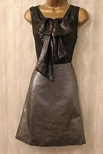 Karen Millen 60s Sheer Silver Metallic Skater Bow Scoop Party Dress  12 40