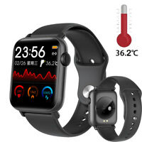 Smartwatch QS19 Temperaturmesser Bluetooth Fitness Uhr 2.5D IPS Display Deutsch